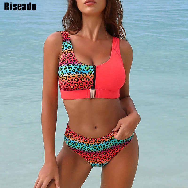Riseadoセクシーなビキニセットleopardの水着の女性 2020 パッチワーク水着プッシュアップbiquiniプリントビキニmujerビーチウェア