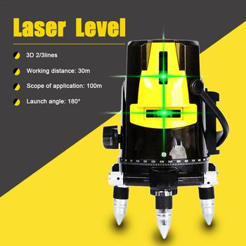 3D 3/ 2 Lines Laser Level Green Light Tester Automatic Laser High Precision Infrared Mater Projector Tool Working within 100m