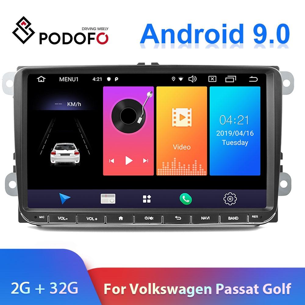 Podofo 9 Android 2din Autoradio GPS Navigation pour VW Volkswagen SKODA GOLF 5 Golf 6 POLO PASSAT B5 B6 JETTA siège Autoradio