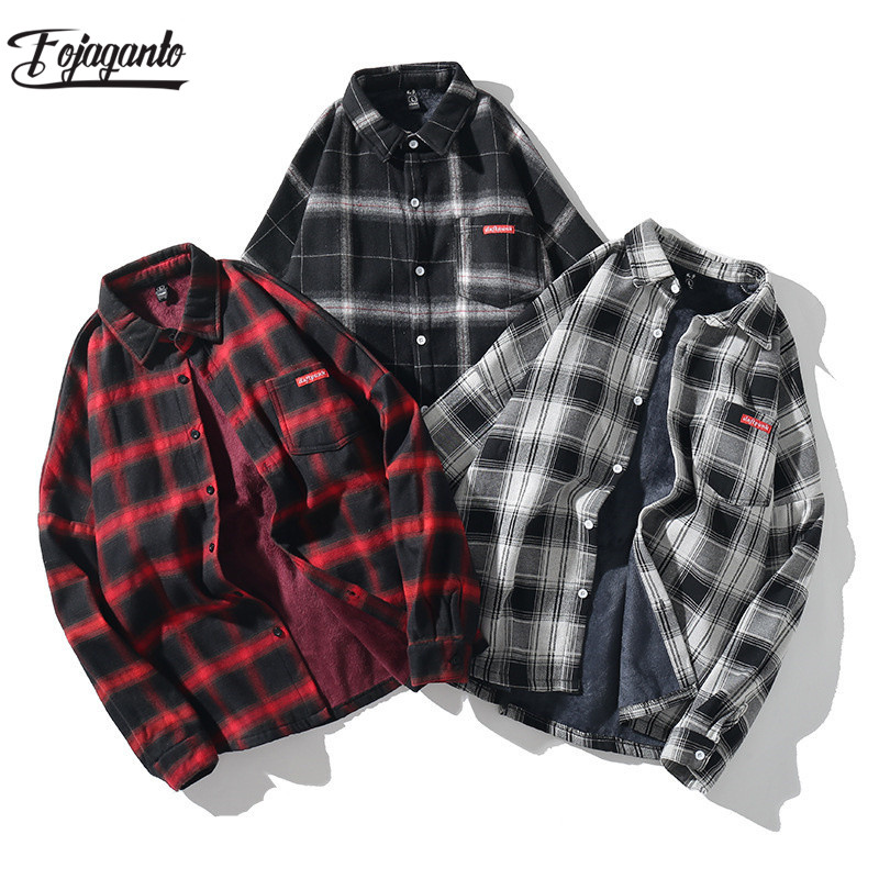FOJAGANTO Fashion Brand Men Plaid Shirts Autumn Men's Long Sleeve Warm Fleece Lining Shirt Coat Casual Thick Shirt Tops