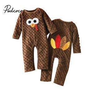 Дня благодарения для маленьких мальчиков и девочек, теплое платье с длинными рукавами и ползунки «индейка» Детские комбинезоны одежда осен...