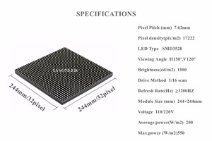 Image 5 - Free Shipping P7.62 Indoor SMD Full Color LED Panel Module 244x244mm 32x32 dots