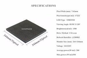 Image 5 - משלוח חינם P7.62 מקורה SMD מלא צבע LED לוח מודול 244x244mm 32x32 נקודות