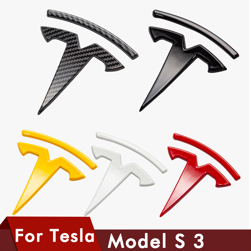 Logo For Tesla Model 3 Front Logo Accessories Carbon Fiber ABS Model3 Car Front Rear Sticker Accessories For Tesla Logo Model S