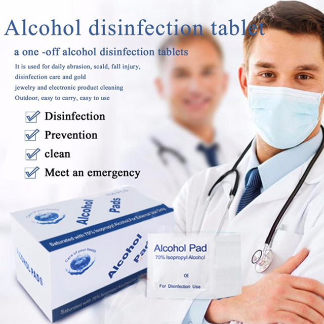 100 pieces / box Disposable Alcohol Cotton Sheet Nail Cleaning Disinfection Bag Wipes Sterilize Disinfection Wipes 6 * 3cm 1