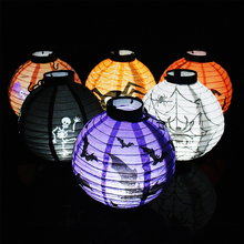 1-3Pcs 20cm/7.8'' Halloween Paper Lanterns Led Lights Pumpkin Bat Spider Skull Horror Lantern For Bar Home Halloween Party Decor halloween cartoon doll pumpkin witch cat party ideal decoration for club bar shop home showcase bar table shelf holiday decor