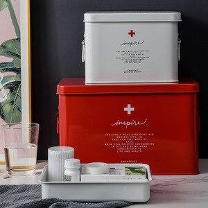 Металлическая аптечка для домашнего использования, портативная медицинская коробка для кемпинга, медицинские принадлежности, ящик для хра...