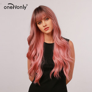 oneNonly Women's Wigs Long Synthetic Wig Ombre Pink Wig with Neat Bangs Body Wave Wigs for Women Natural Hair Wig Cosplay