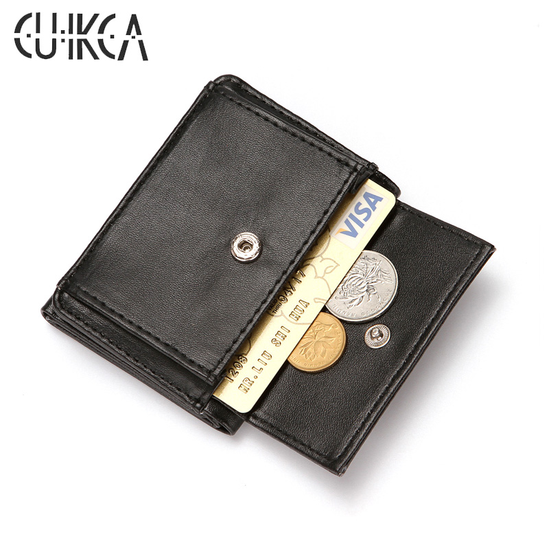 CUIKCA Slim Mini Wallet Mens Wallet PU Leather Hasp Coins Wallet Purse Men Billfold Business Credit ID & Card Holders