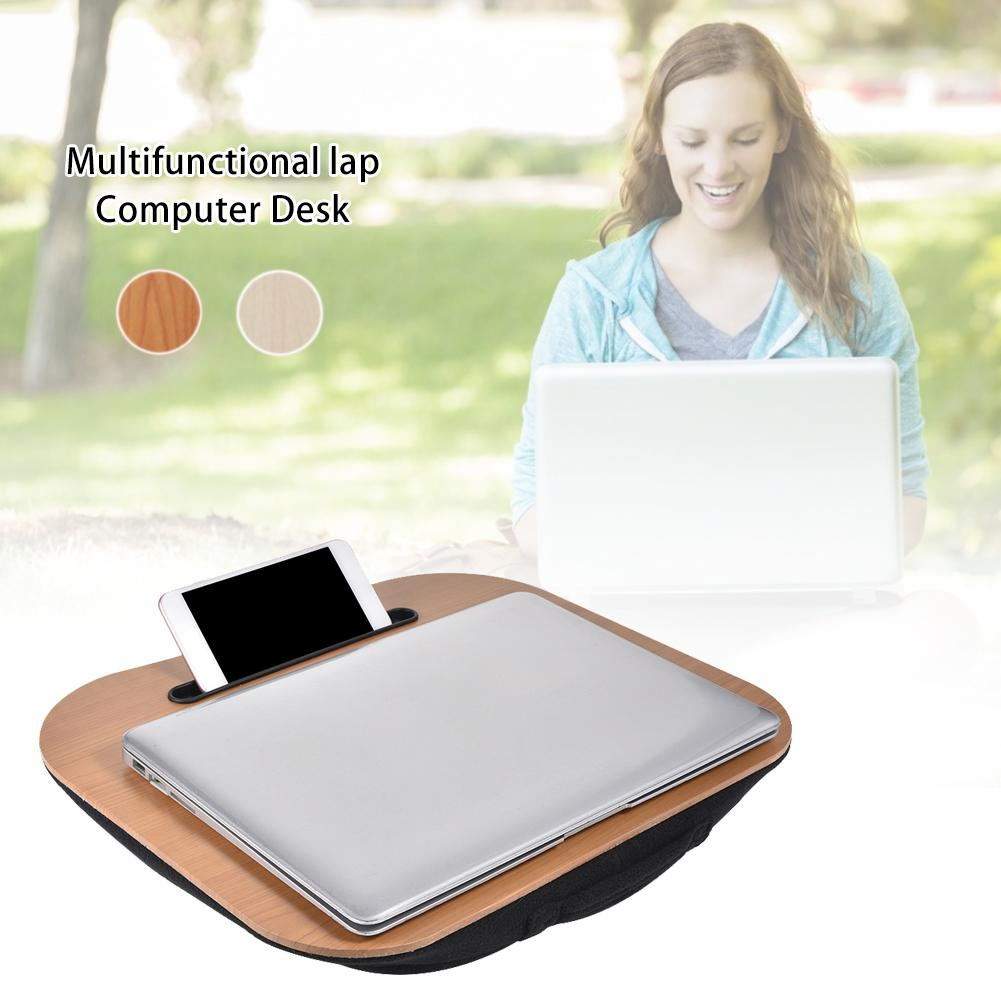 Laptop Pad Desk Writing Desk Portable Laptop Computer Desk 15.7*13IN With Phone Tablet Holder Stand With Pillow Cushion //