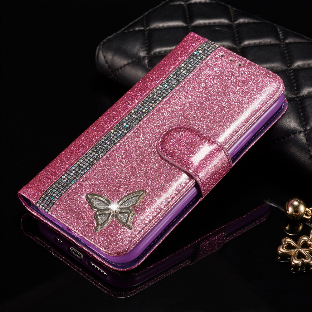 Glitter Butterfly Case For iPhone 11 Pro Max X XR XS Max Luxury Diamond Phone Flip leather Case For iPhone 7 Plus SE 2020 Cover image