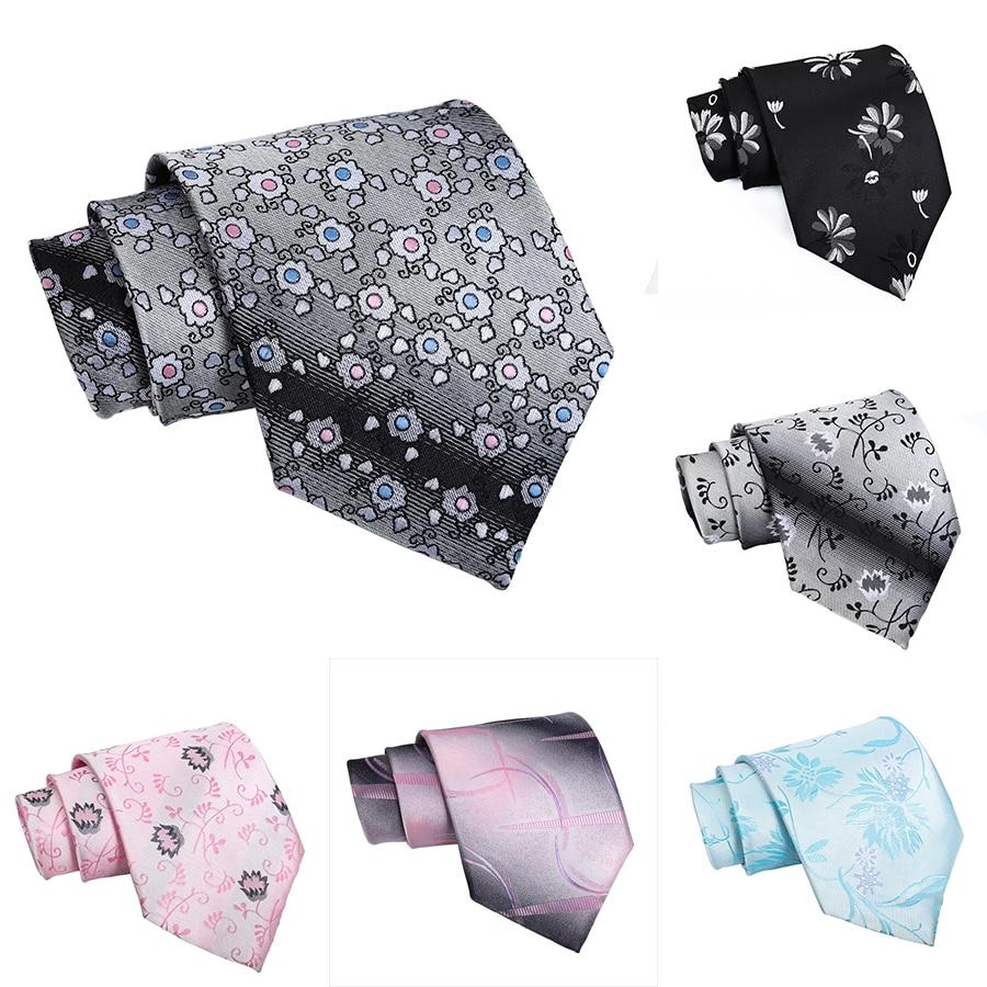 Silk Neck Tie For Men Floral Polka Dots Black Corbatas 10 Cm Gravata Classic Formal Social Event Pink For Office Wedding Dress