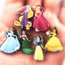 100Pcs Cartoon Little Princess Queen Jasmine Mermaid Resin Flat Back Cabochons for DIY Jewelry Embellishment Kids Craft Charms(China)
