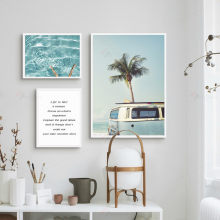 Nordic Posters and Print Blue Ocean Water Quotes Seascape Canvas Paintings on The Wall Art Pictures for Living Room Home Decor(China)