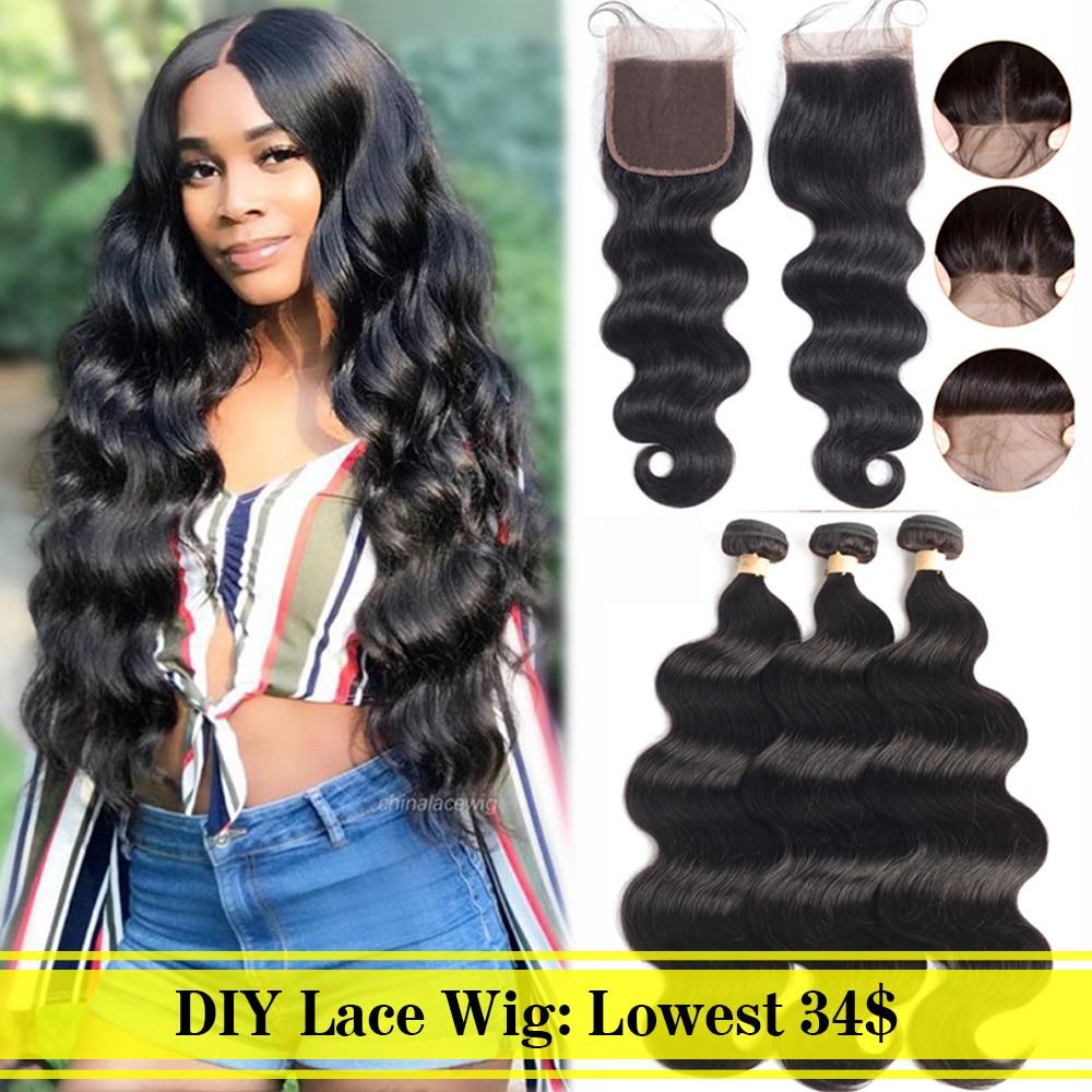 Beaudiva DIY Lace Closure Wig Straight Hair Brazilian Hair Weave Bundles With Closure DIY Lace Wig 1100% Human Hair
