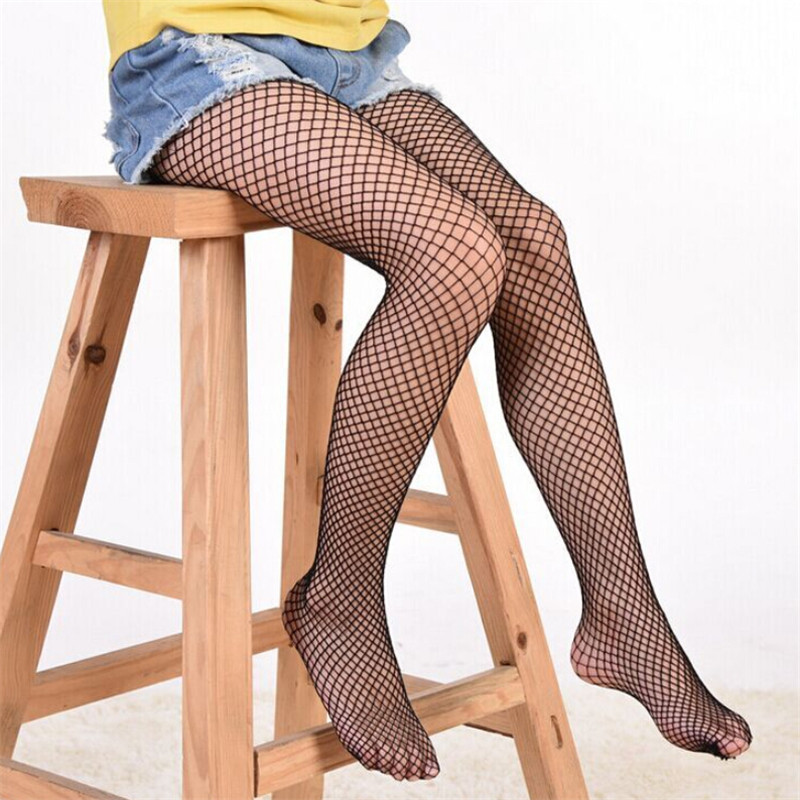 child size medium Black fishnet tights NEW