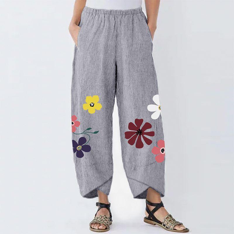 2020 Vintage Pants Women Flowers Printed Irregular Hem Long Trousers Spring Plus Size Female Cotton Stripe Pockets Pantalones