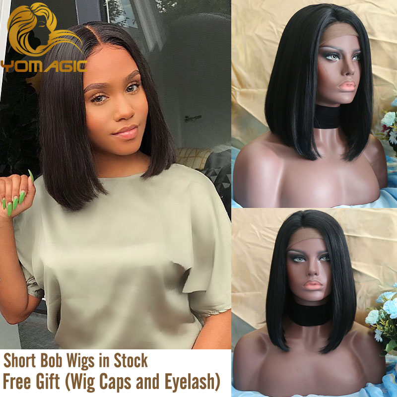 Yomagic Hair Black Color Synthetic Hair 13*6 Lace Front Wigs With Baby Hair Straight Hair Short BoB Lace Wigs With Pre Plucked
