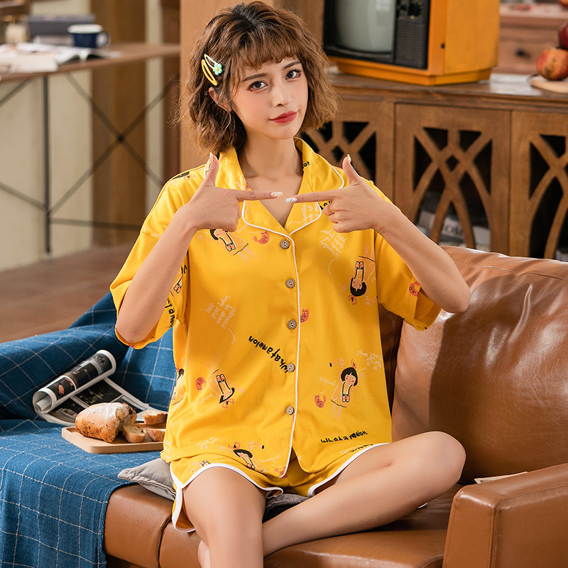Peach Scent Spring Summer Women's Knitted Cotton Short Sleeve Fold-down Collar Cardigan Casual Shorts Two-Piece Pajamas