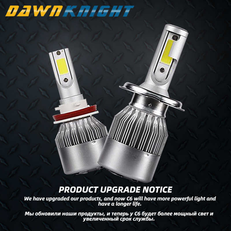 Dawnknight 2 Pcs H7 Lampu LED C6 COB Turbo Fan 12V 6000K H4/9003/HB2 H1 h3 H8/H9/H11 H27 9005/HB3 9006/HB4 9012 Lampu Mobil LED
