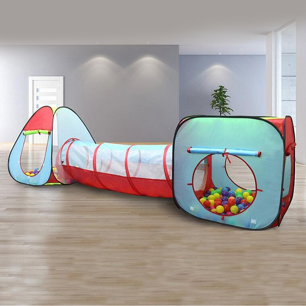 Kids Playhouse 3-in-1 Play Tent Crawl Tunnel for Beach, Backyard, Camping, Home, Garden, Park, Parties, Day Care