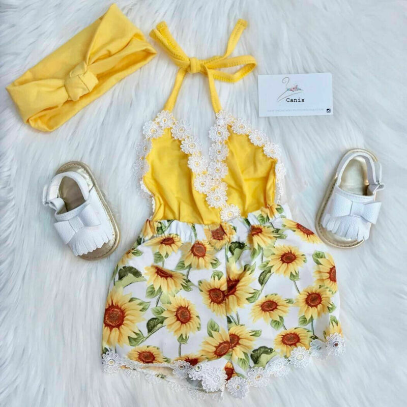 Summer Toddler Kids Baby Girl Lace Sunflower Romper Bodysuit Sunsuit Outfit 0-5T