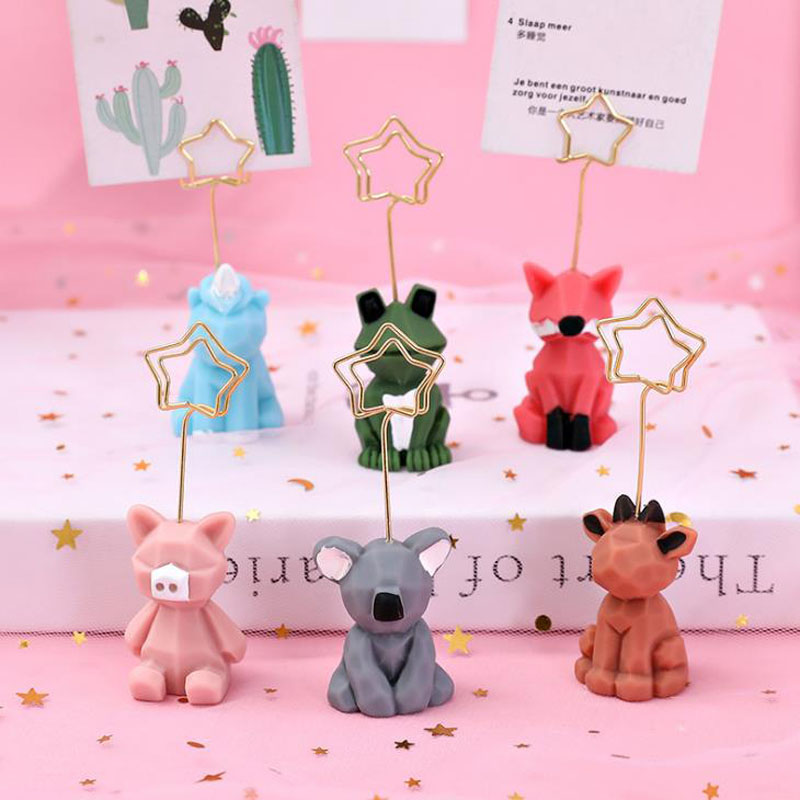 1 Pcs Cartoon Resin Animal Unicorn Koala Frog Fox Pig Note Paper Clip Card Holder Desk Message Photo Stand Holder Stationery
