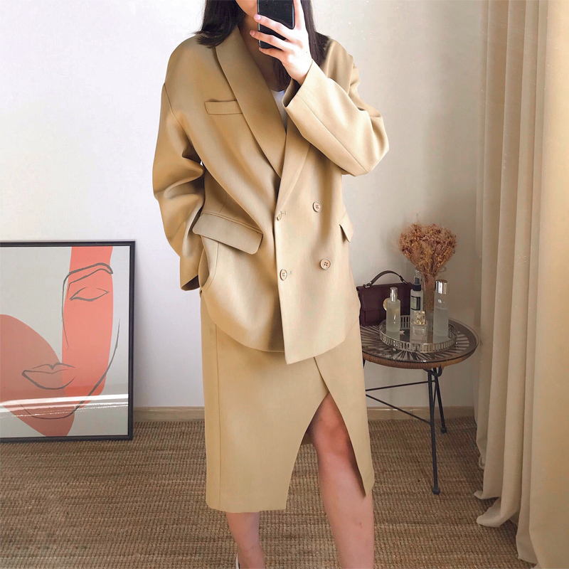 Spring High Quality Casual Set High Waist Split Skirt And Free Jacket Two Piece Women Suit Jacket And Skirt