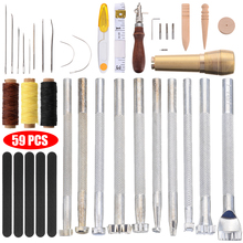 Professional 59Pcs Leather Canvas Craft Sewing Tools Kit DIY Hand Leathercraft Stitching Punch Carving Work Repair Sewing Tool 19pcs leather tools craft punch kit stitching carving working sewing saddle groover diy drilling grinding needle buckle tool