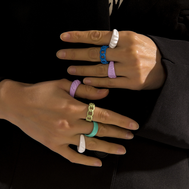 2021 New Trendy Hand-painted Candy Color Dripping Oil Geometric Chain Rings for Women Multicolor Irregular Open Rings Jewelry 3