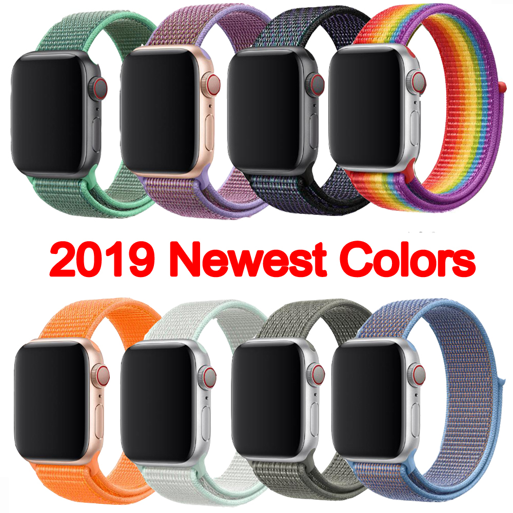 Newest Color Woven Nylon Sport Loop For Apple Watch Band 44mm 42mm 40mm 38mm Wrist Strap For Iwatch Series 5/4/3/2/1