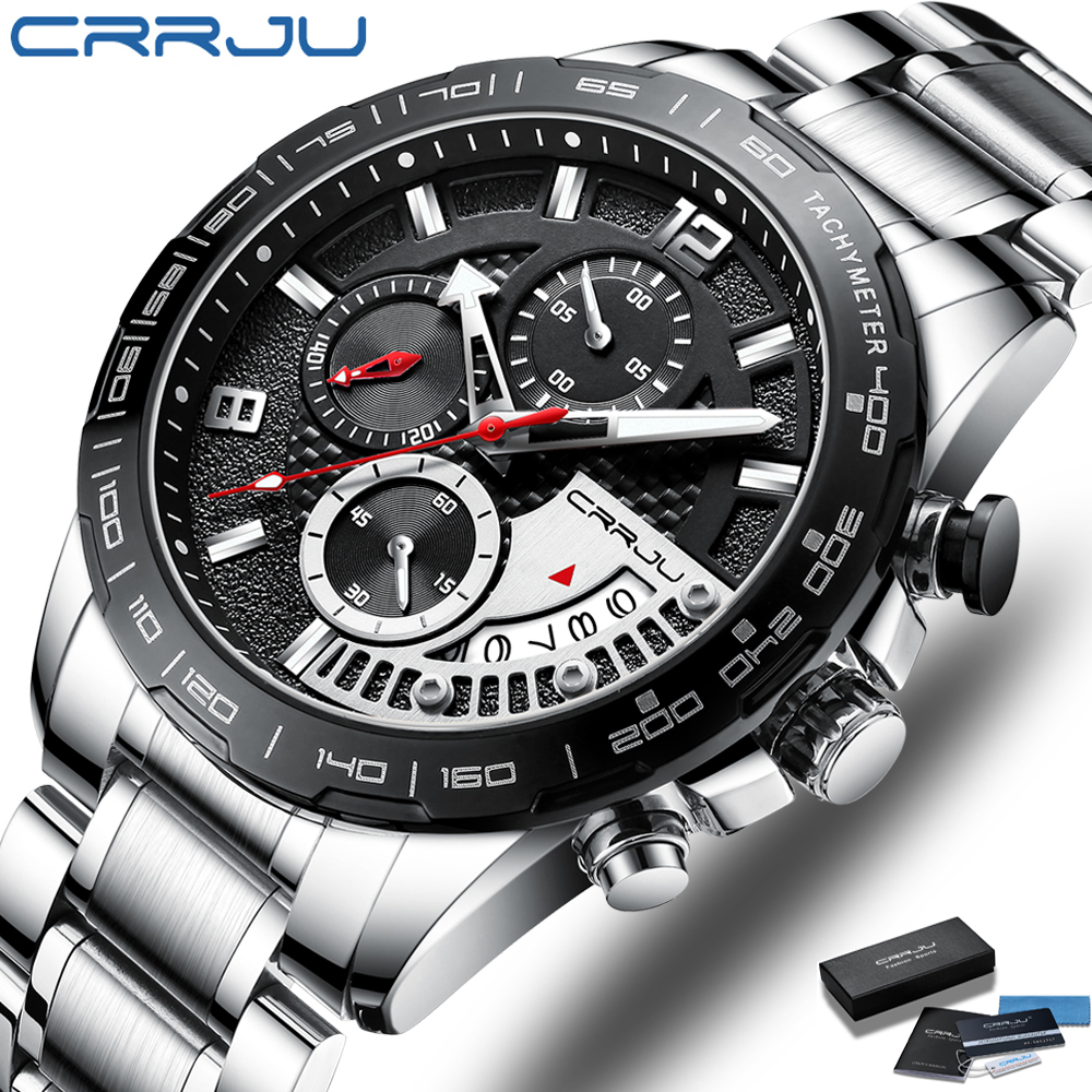 Men's Watches CRRJU Top Luxury Brand Fashion Quartz Men Watch Waterproof Chronograph Business Wristwatch Relogio Masculino