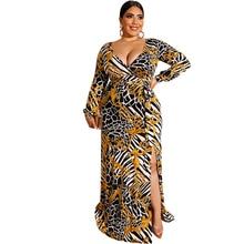 купить Women Plus Size Dress Sexy Wrap Buttocks Dress Female Flower Print Split Hem Vestidos Deep V-neck Long Sleeve Party Long Dresses по цене 1013.17 рублей