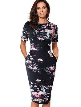 Nice-Forever Elegant Vintage Floral Print Dress