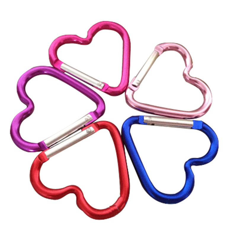 Carabiners Climbing Heart Shape Alloy Aluminum Camp Backpack Buckle Light Handy Key Chain Multifunctional Bottle Buckles Durable
