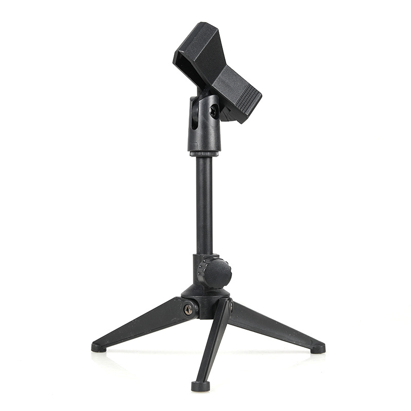 Microphone Stand Desktop Tripod Mini Portable Table Stand Adjustable Mic Stand Mic Clip Holder Bracket Lightweight Bracket 2