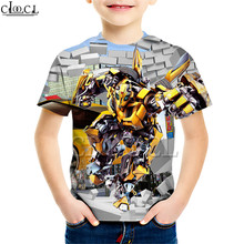 Superhero Car Bumblebee Print T Shirt Boy Girl 3D Creative Clothing Short Sleeve Casual Naughty Baby
