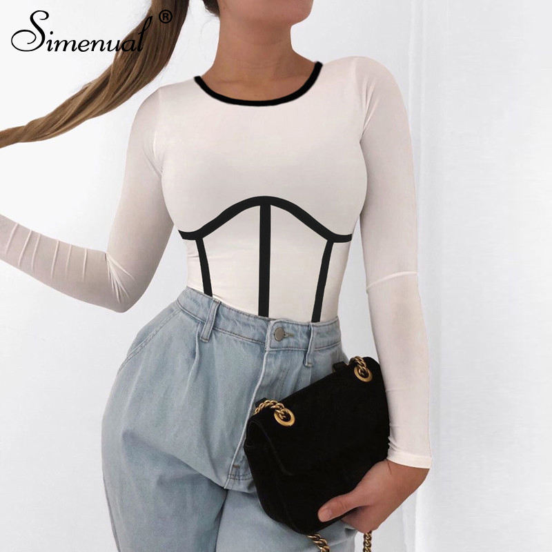 Simenual Fashion Long Sleeve Women Crop Top Summer 2020 Casual Patchwork Slim T Shirts Skinny Striped Bodycon Streetwear Tees