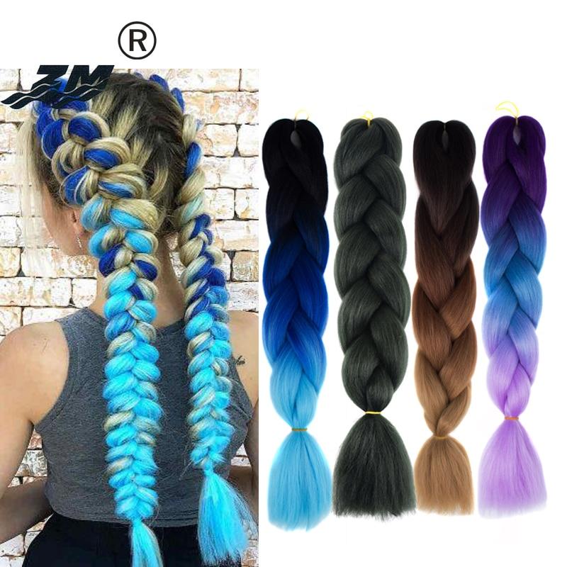 ZM Hair 100g 24 Inch Jumbo Braids Long Ombre Jumbo Synthetic Braiding Hair Crochet Blonde Pink Blue Grey Hair Extensions African