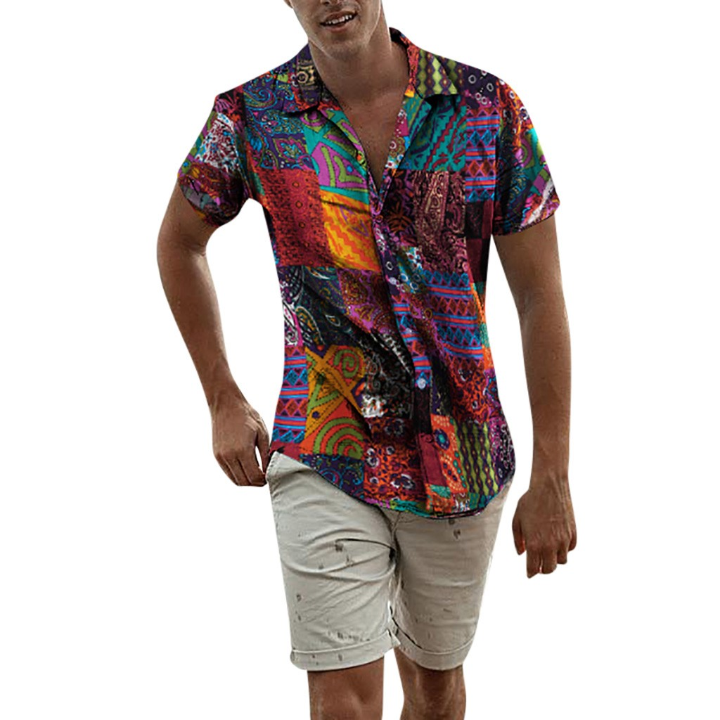 Mens Ethnic Short Sleeve Beach Hawaiian Shirt Tropical Summer Cotton Linen Printing Hawaiian Button Down Shirts Plus Size