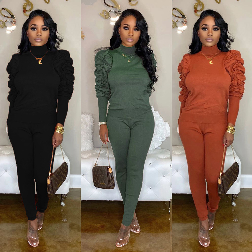 TWO PIECE SET Elegant Tracksuit Long Sleeve Office Lady Knitted Women Suit Plus Size Outfits Streetwear Loungewear Highneck 2 PC
