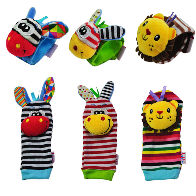 Newborn Infant Kids Rattles Children Cartoon Animal Wrist Band Soft Cute Foot Sock Make Sound Baby Development Toys 0-24 Months