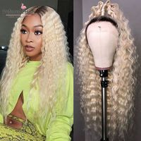Preferred Curly Human Hair Wig Ombre Platinum Blonde Lace Front Wig Preplucked Brazilian Remy Transparent Lace Wigs For Women