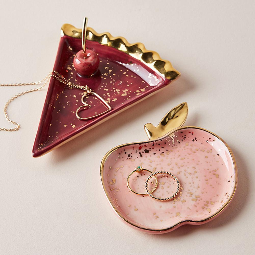 Ceramic Watermelon Apples Shape Earrings Necklace Jewelry Storage Dish Plate Jewelry Organizer Organizador De Joyas шкатулка