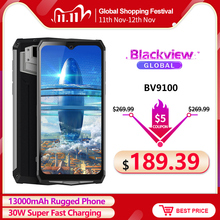Blackview BV9100 6.3 FHD+ 13000mAh IP68 Rugged Smartphone 4GB 64GB Helio P35 Octa Core Android9.0 Mobile Phone 30W Fast Charge