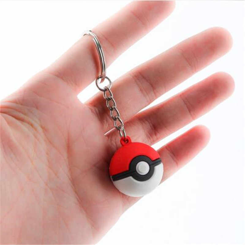 Hot New Japan Anime Game Pokemon Key Chain Poke Ball Key Ring Cosplay Badge Props 3D Silica Gel Fancy Creative Gifts