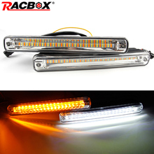 купить 2Pcs Cars LED DRL Daytime Running Light Waterproof COB Stream lamp White Day Light and Yellow Color Turning Signal Fog Light 12v дешево