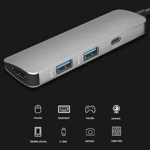 Image 2 - 4 in 1 USB C 허브 USB C HDMI 4K 허브 USB 3.0 어댑터 PD/마이크로 Usb 충전 포트 MacBook Pro 용 Samsung Galaxy S8 type C HUB