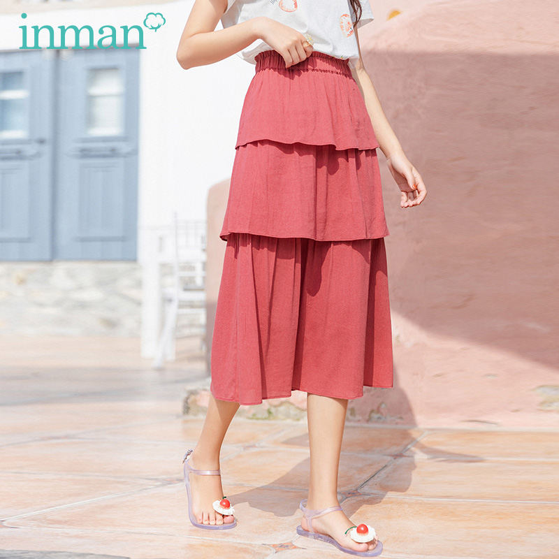 INMAN 2020 Summer New Arrival Graceful Elastic Waist Fairy Style Temperament Double-deck Tiered Skirt