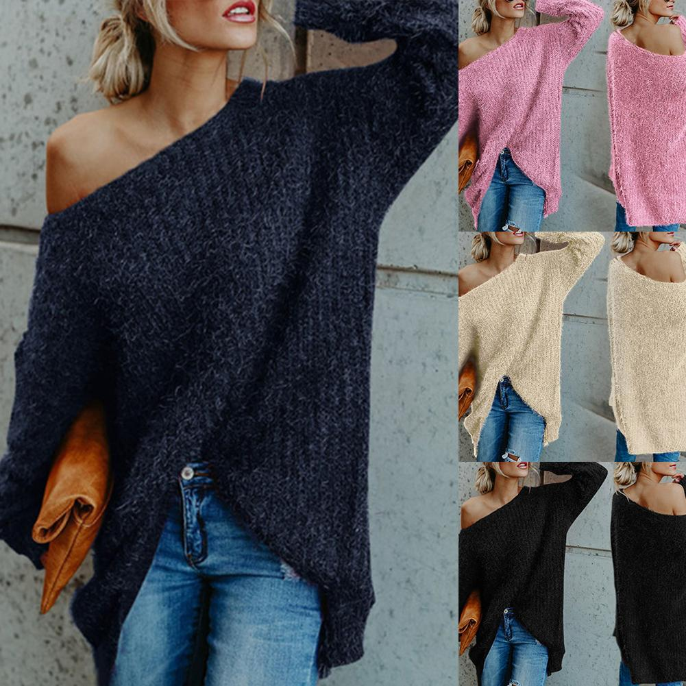 Sexy Off Shoulder Knitted Sweater Women Solid Loose Flare Sleeve Pullover Jumpers Female Mink Cashmere Sweater Gift For Women